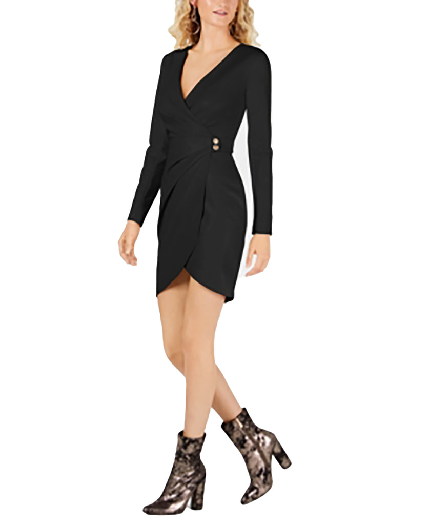 Yieldings Discount Clothing Store's Lexie Faux-Wrap Faux-Leather Dress by Guess in Jet Black Multi