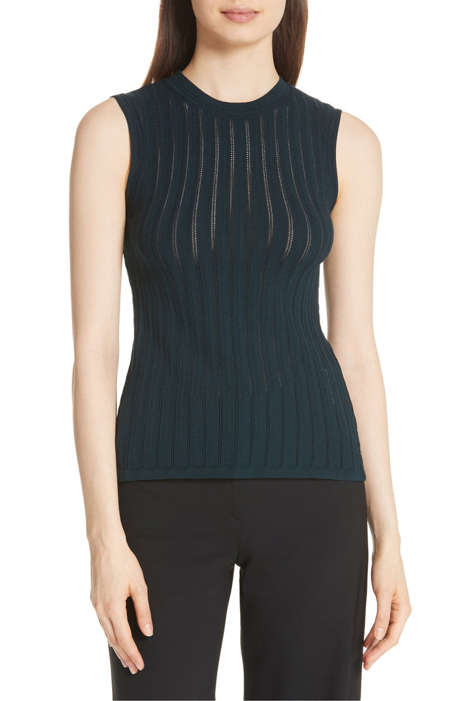 Yieldings Discount Clothing Store's Pointelle Knit Crisscross Top by Theory in Dark Mineral Prosecco