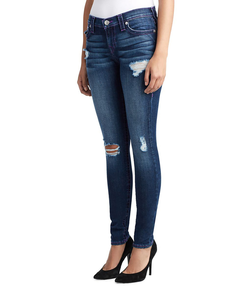 Yieldings Discount Clothing Store's Super Skinny With Flaps Jeans by True Religion in FGUM Neon Purple