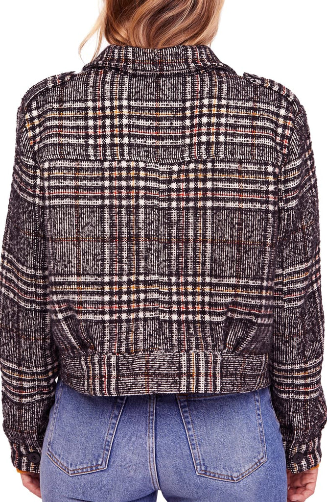 Yieldings Discount Clothing Store's Slouchy Eisenhower Plaid Jacket by Free People in Black