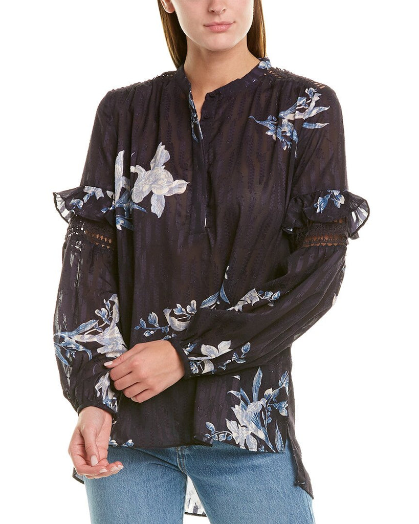Yieldings Discount Clothing Store's Frill Sleeve Pullover Blouse by French Connection in Utility Blue