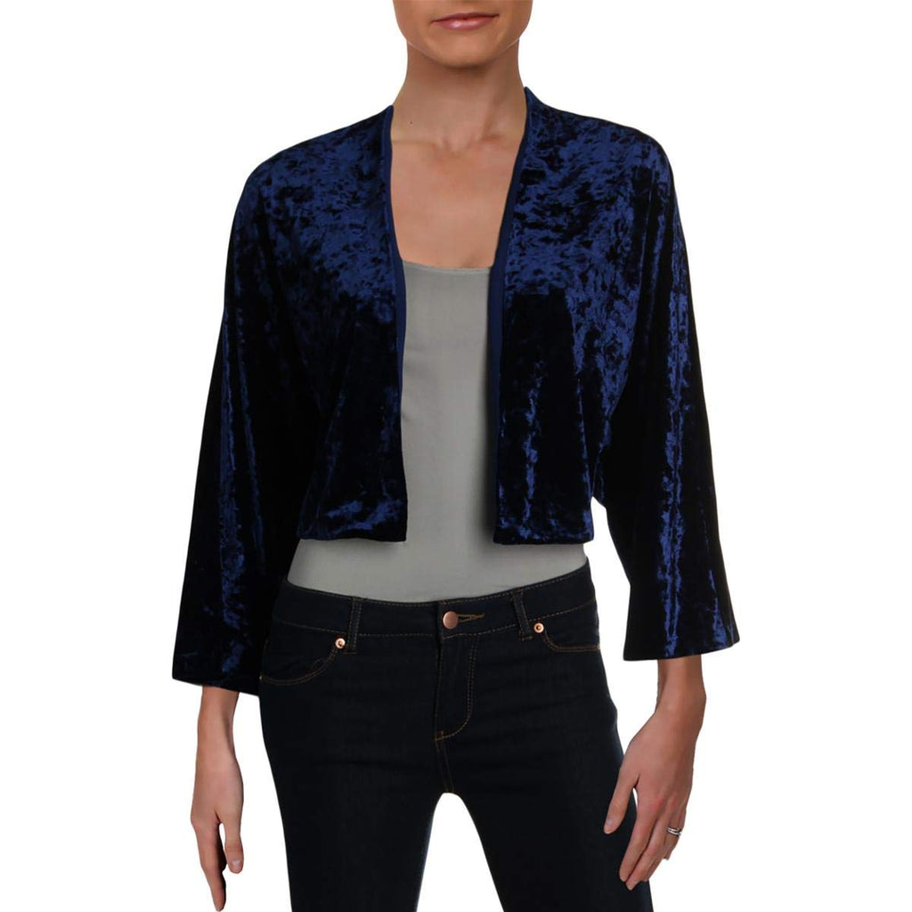Yieldings Discount Clothing Store's Balvino Velvet Cropped Blazer by Lauren by Ralph Lauren in Blue