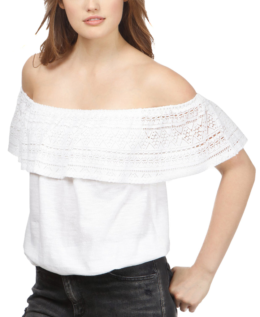 Yieldings Discount Clothing Store's Crochet Off-Shoulder Top by Lucky Brand in White