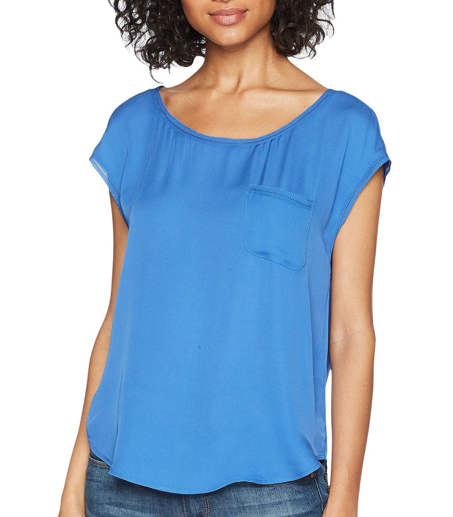 Yieldings Discount Clothing Store's Hina Double Georgette Top by Joie in Baja Blue