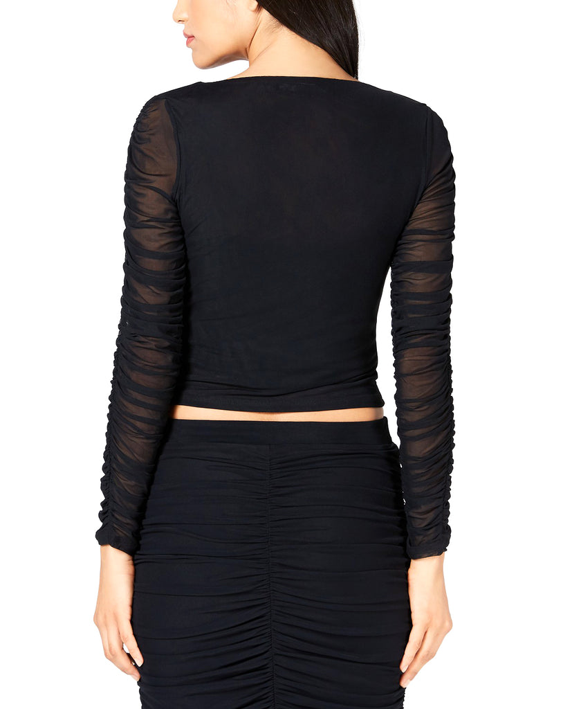 Yieldings Discount Clothing Store's Long Sleeve Odette Ruched Top by Guess in Jet Black