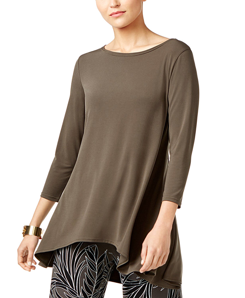 Yieldings Discount Clothing Store's Petite High-Low Jersey Tunic Top by Alfani in Urban Olive