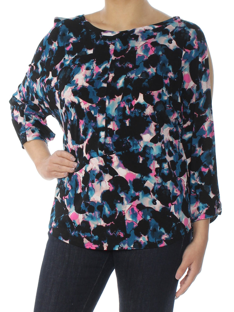 Yieldings Discount Clothing Store's Twisted Sleeve Top True by RACHEL Rachel Roy in Navy Combo