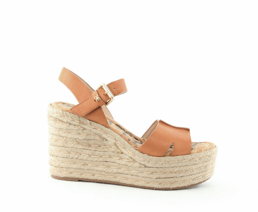 Yieldings Discount Shoes Store's Maura Espadrille Platform Wedge Sandals by Sam Edelman in Natural Leather