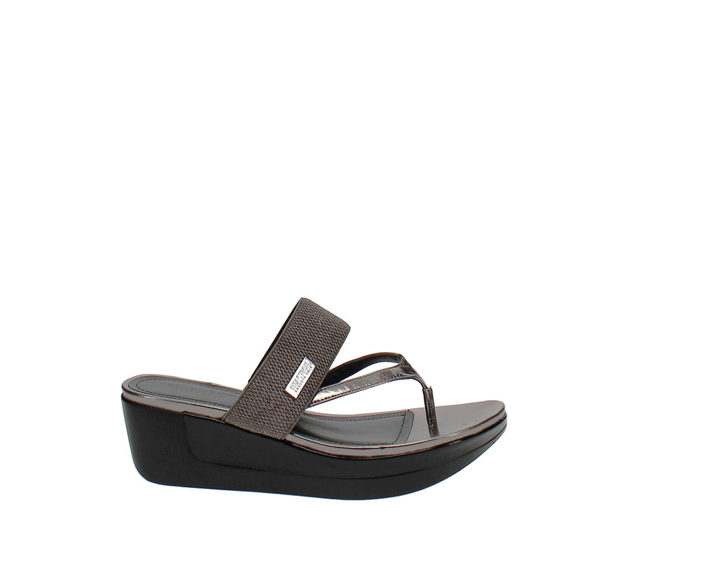 Yieldings Discount Shoes Store's Pepea Cross Wedge Sandals by Reaction Kenneth Cole in Pewter