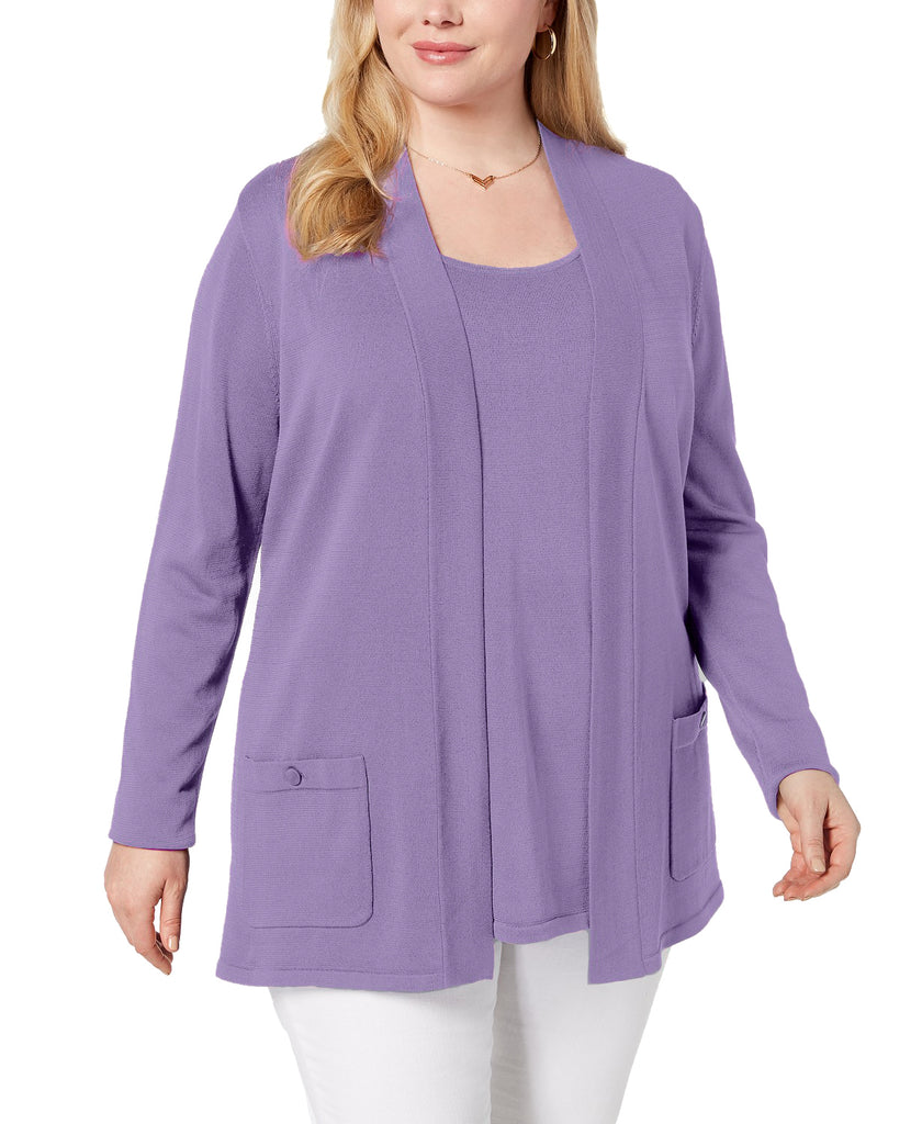 Yieldings Discount Clothing Store's Plus Size 2-Pc. Sweater Set by Anne Klein in Purple