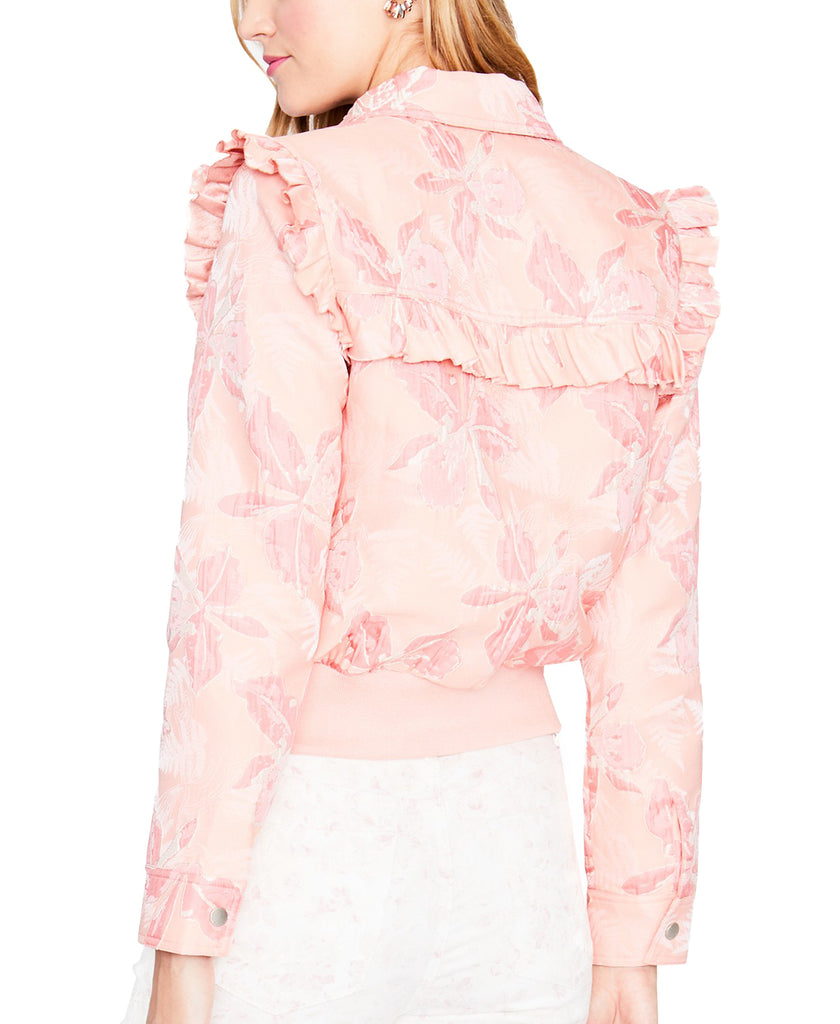 Yieldings Discount Clothing Store's Spring Ruffled Bomber Jacket by RACHEL Rachel Roy in Blush Combo