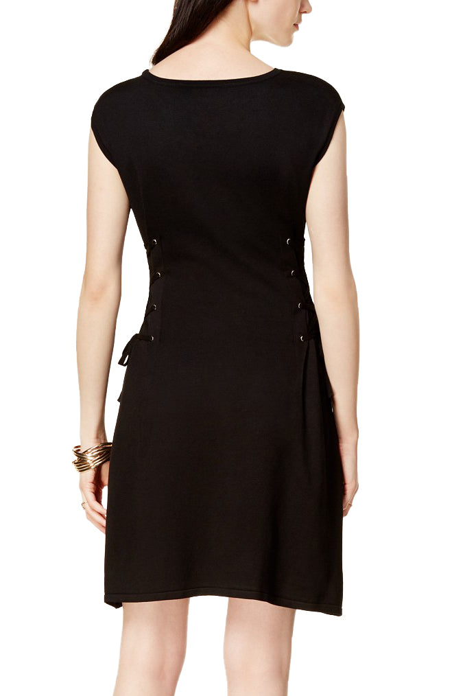 Yieldings Discount Clothing Store's Dublin Lace-Up Sweater Dress by Bar III in Deep Black