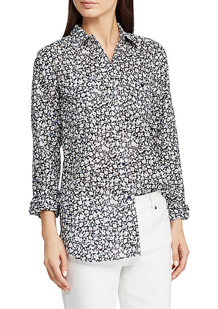 Yieldings Discount Clothing Store's Floral Long Sleeve Button Up Top by Lauren by Ralph Lauren in Navy Multi