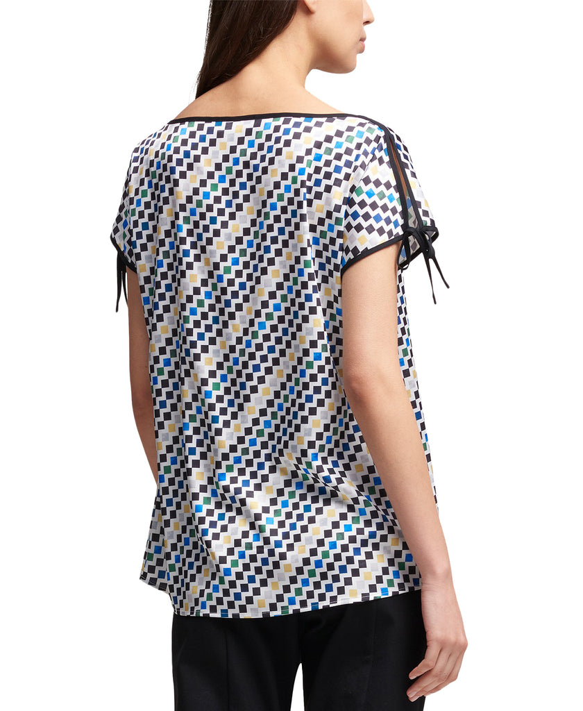 Yieldings Discount Clothing Store's City Bloom Printed Tie-Sleeve Top by DKNY in White/Black