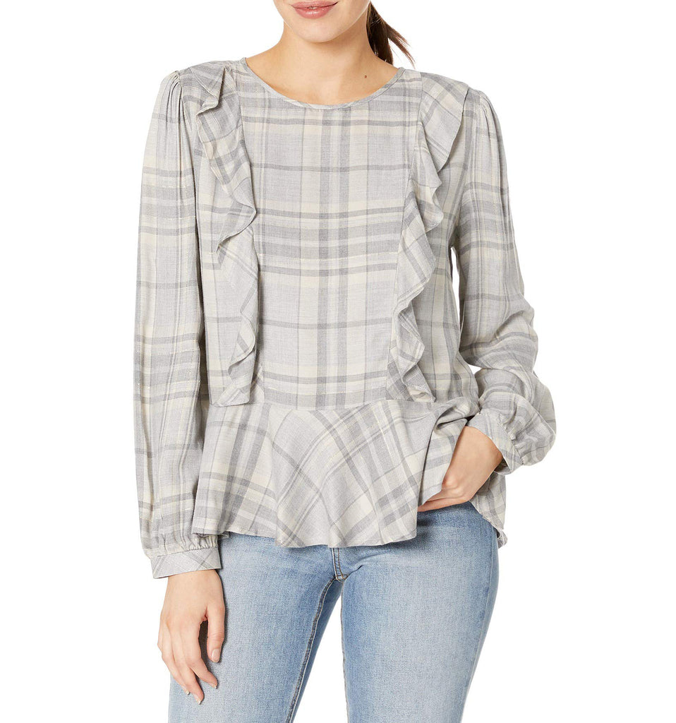 Vince Camuto | Glen Plaid Pullover Top