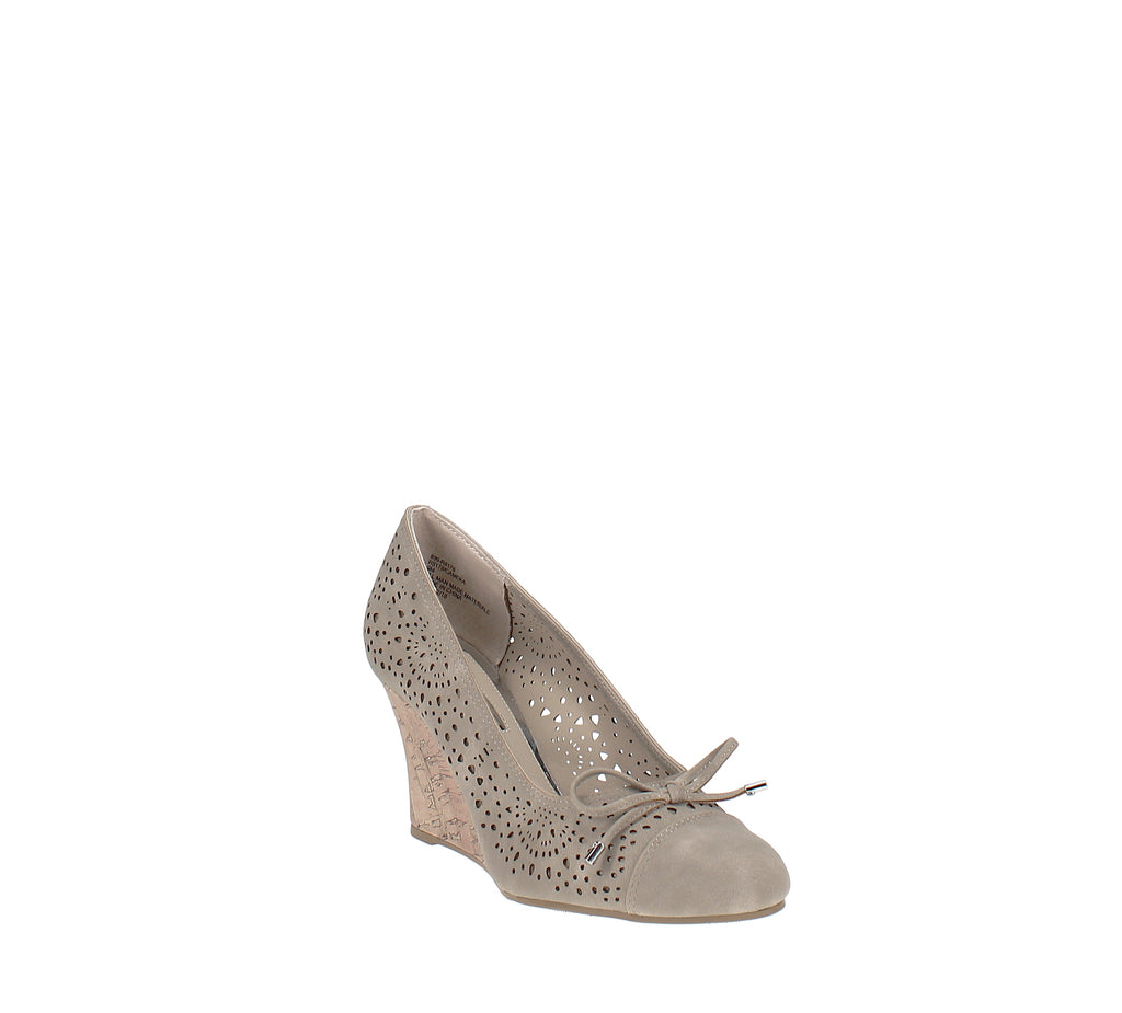 Yieldings Discount Shoes Store's Cameka Dress Wedges by Rialto in Light Taupe