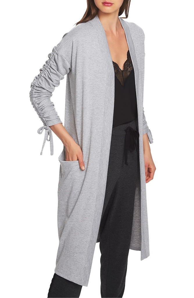 Yieldings Discount Clothing Store's Cozy Ruched Sleeve Cardigan by 1.State in Heather Grey