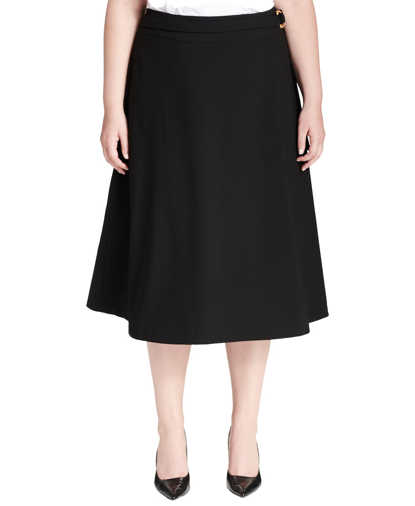Yieldings Discount Clothing Store's Plus Size Belted A-Line Skirt by Calvin Klein in Black