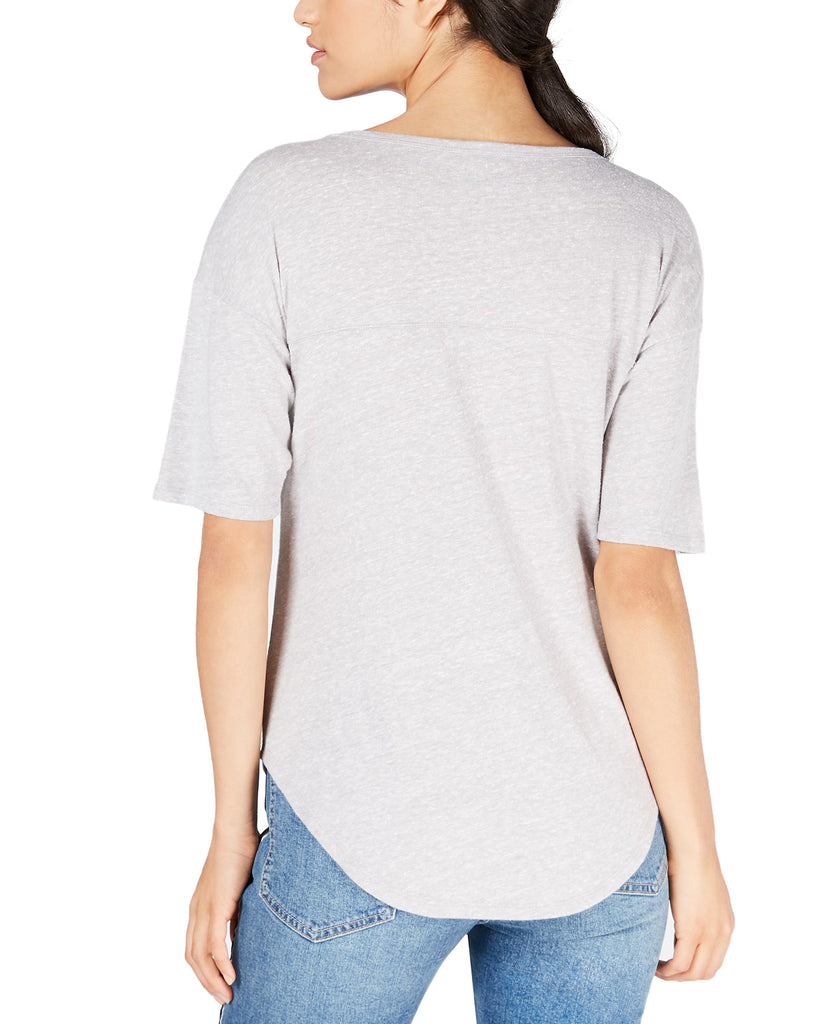 Yieldings Discount Clothing Store's Floral Varsity T-Shirt by Lucky Brand in Grey