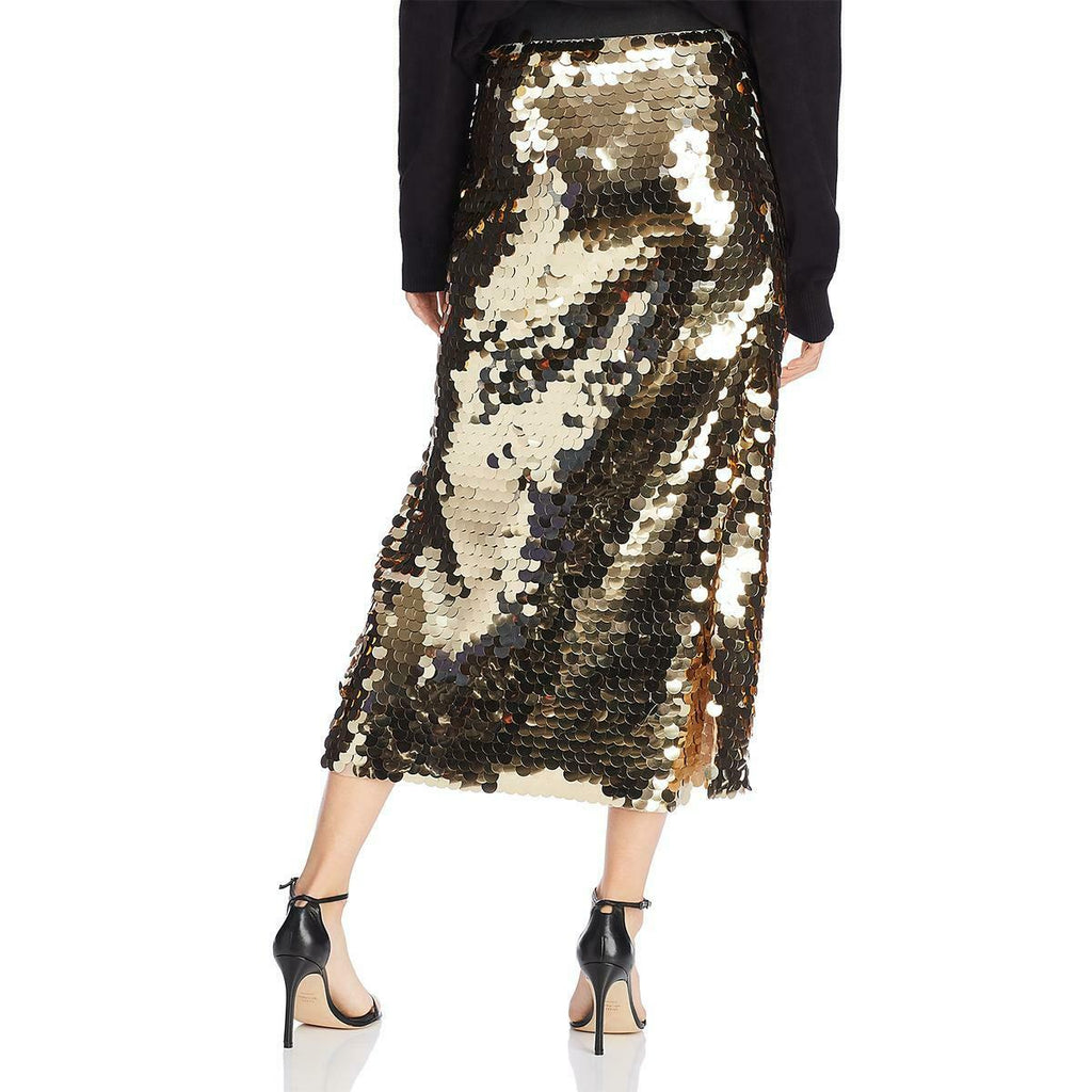 Yieldings Discount Clothing Store's Emilia Sequined Jersey Skirt by French Connection in Antique Gold