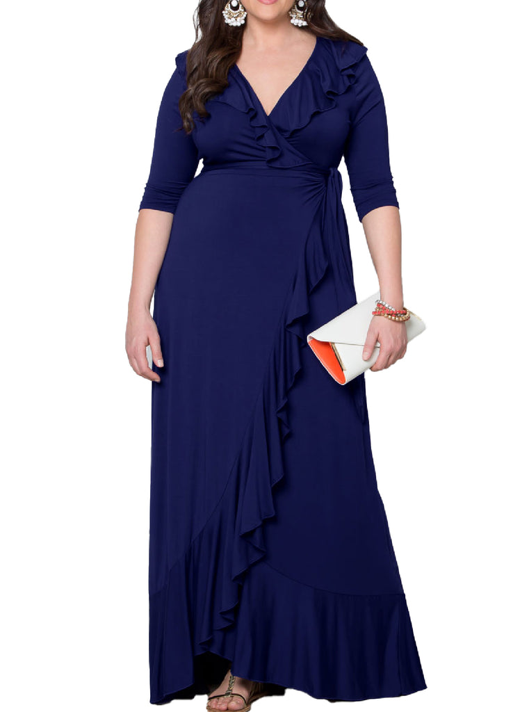 Yieldings Discount Clothing Store's Maritime Maxi Dress by Kiyonna in Navy
