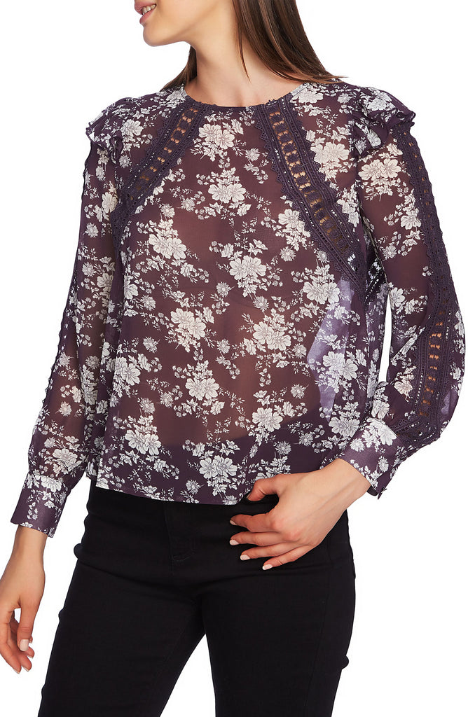 Yieldings Discount Clothing Store's Floral Sheer Lace Trim Blouse by 1.State in Cosmic Plum