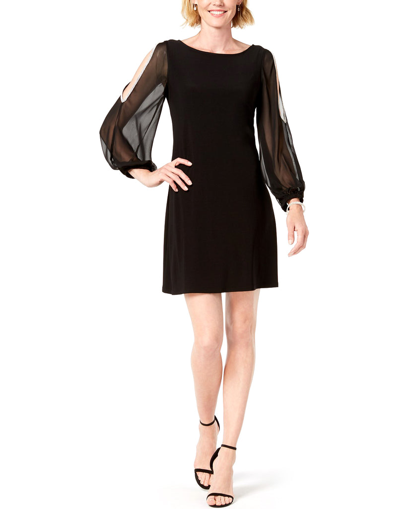 Yieldings Discount Clothing Store's Rhinestone Cold-Shoulder Chiffon-Sleeve Dress by MSK in Black