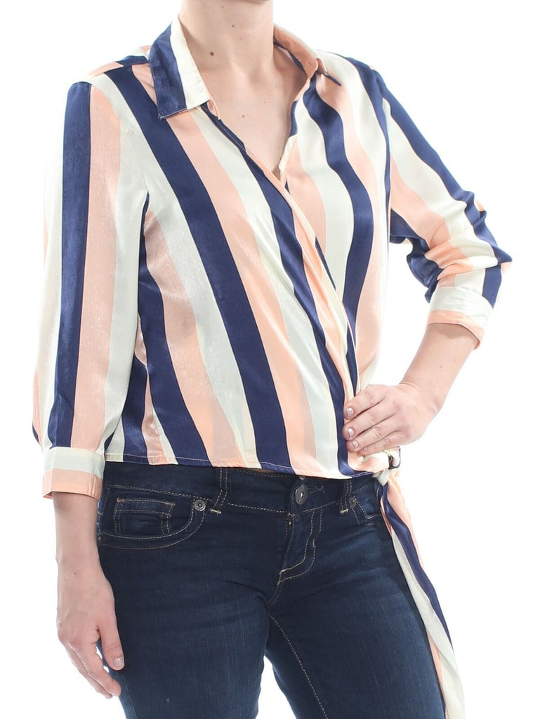 Yieldings Discount Clothing Store's Collar Long Sleeve Wrap Blouse by Project 28 in Pink/Navy Stripe