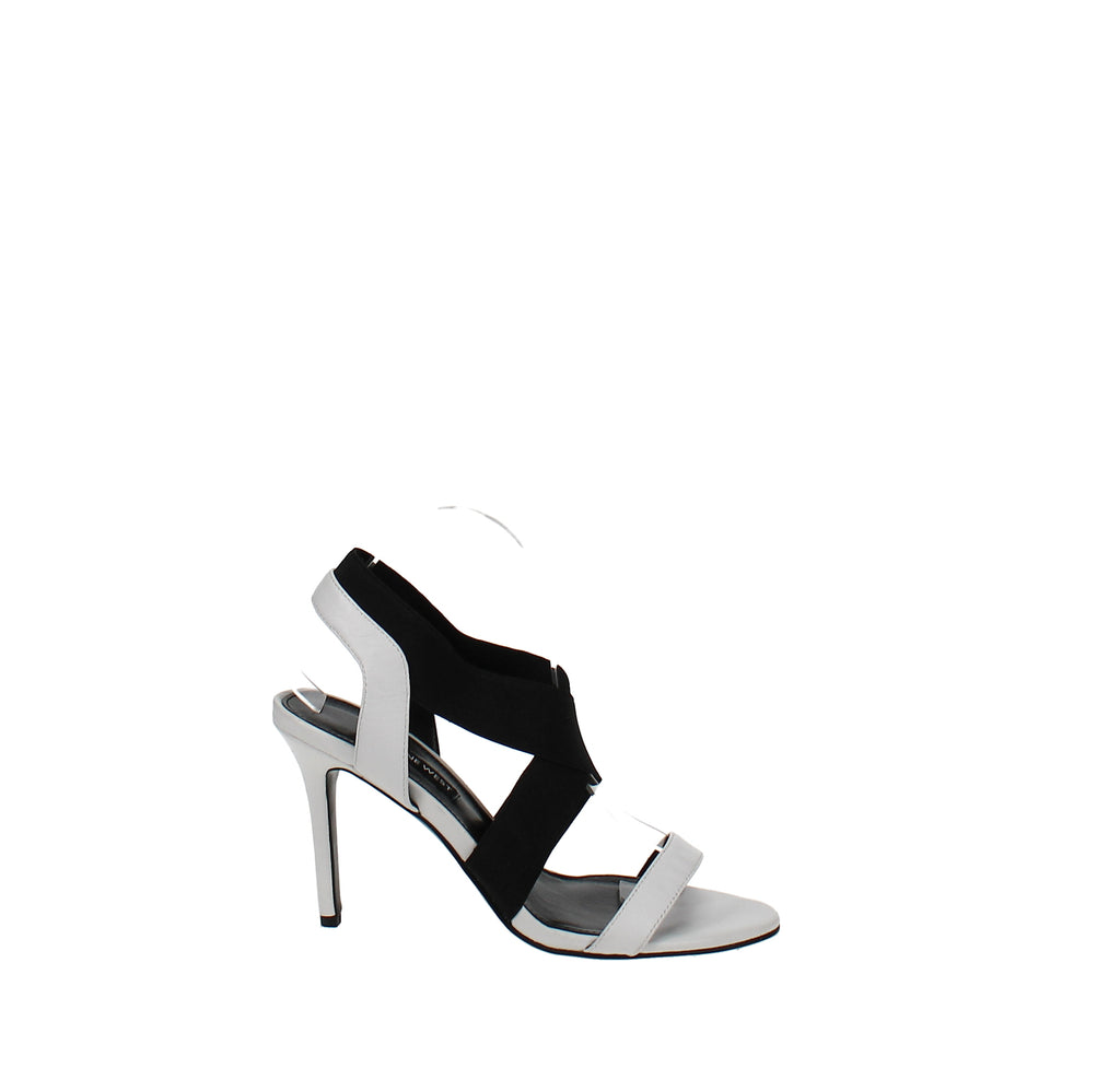 Yieldings Discount Shoes Store's Maya Heeled Sandals by Nine West in White/Black