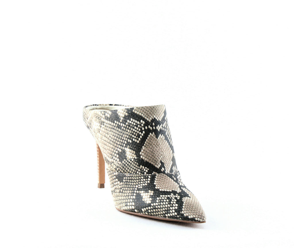 Yieldings Discount Shoes Store's Cinda Heeled Mules by Dolce Vita in Snake Print Embossed Leather
