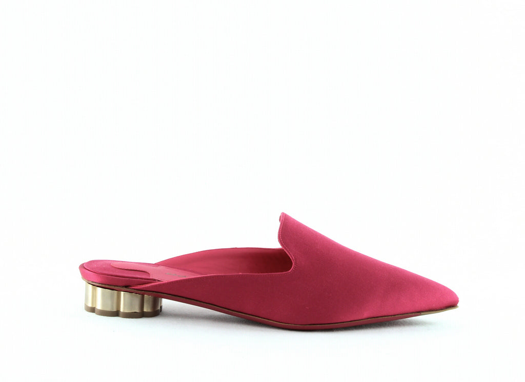 Yieldings Discount Shoes Store's Maida Satin Mules by Salvatore Ferragamo in Lampone