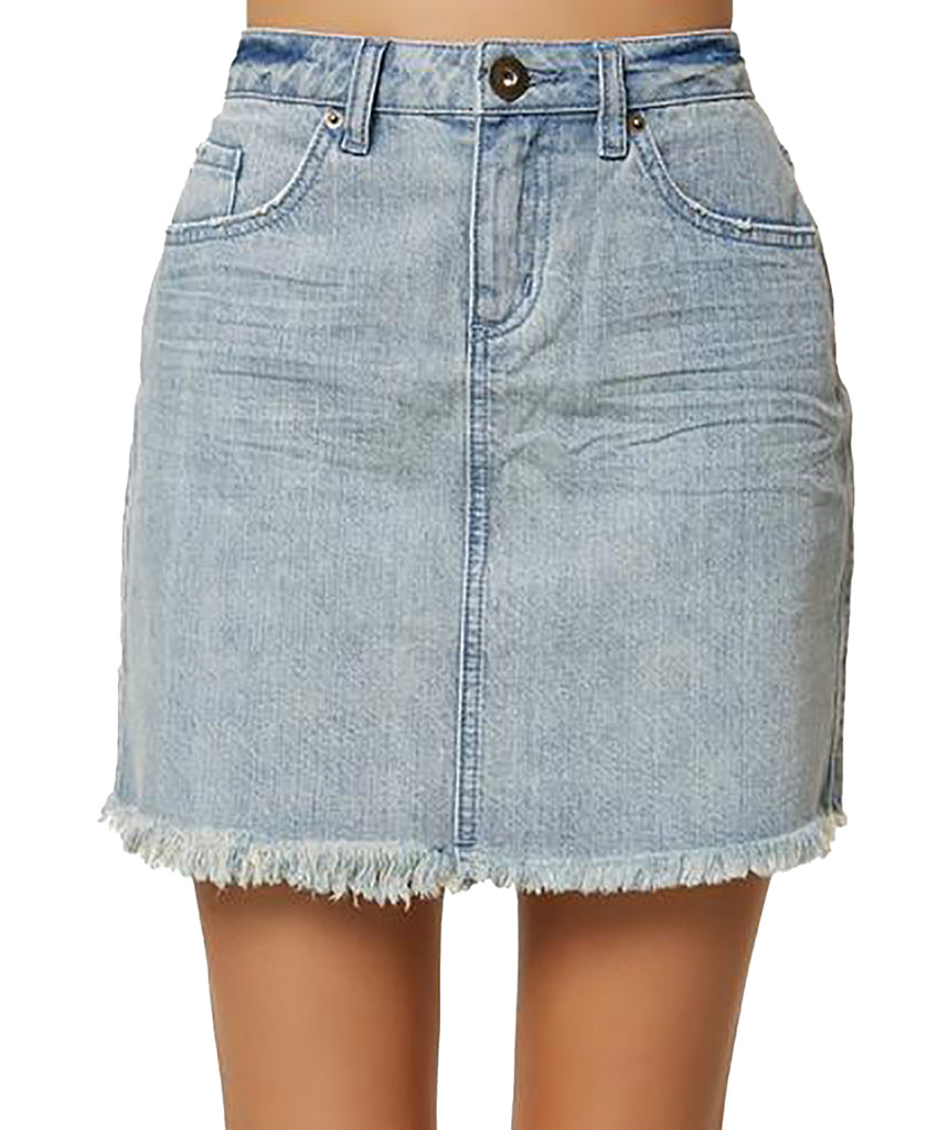 Yieldings Discount Clothing Store's Jasmine Denim Mini Skirt by O'Neill in Light Blue Summer Wash