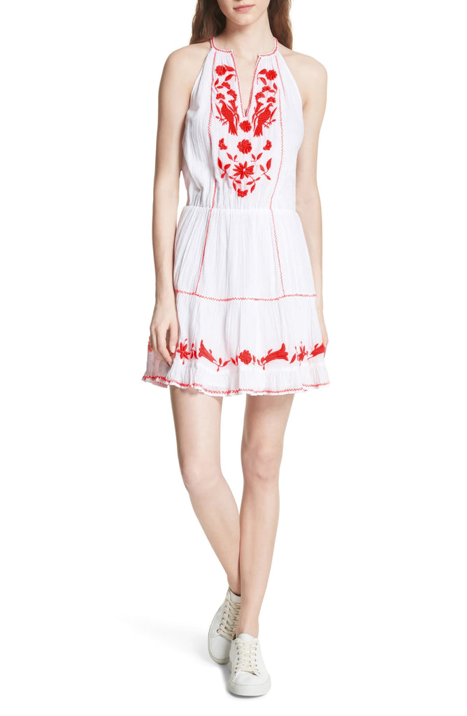 Yieldings Discount Clothing Store's Clemency Embroidered Dress by Joie in Clean White w/ Salssa