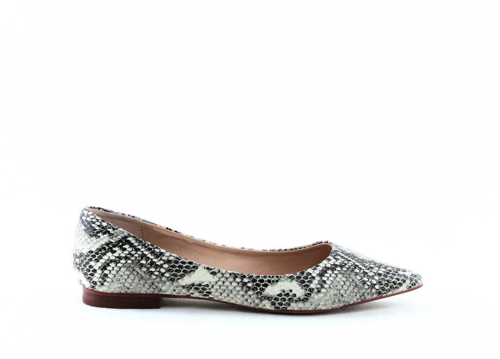 Yieldings Discount Shoes Store's Abel Snake-Embossed Leather Flats by Aqua in Natural Snake