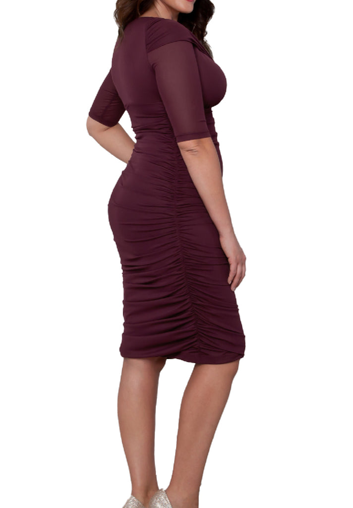 Yieldings Discount Clothing Store's Betsey Ruched Dress by Kiyonna in Raspberry