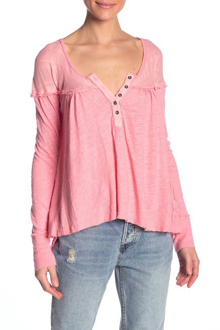 Yieldings Discount Clothing Store's Down Under Raw Trim Henley Tee by Free People in Sugar Coral