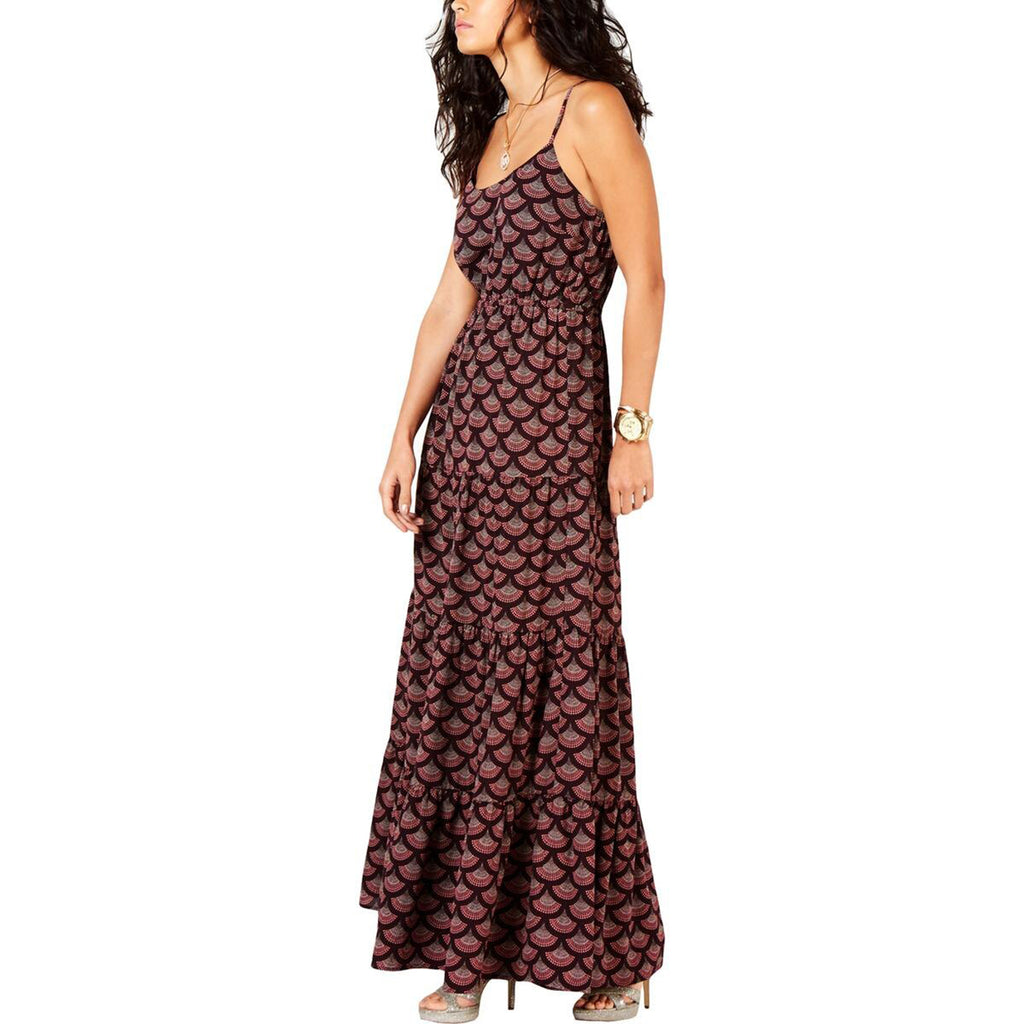 Yieldings Discount Clothing Store's Printed A-Line Maxi Dress by MICHAEL Michael Kors in Cordovan