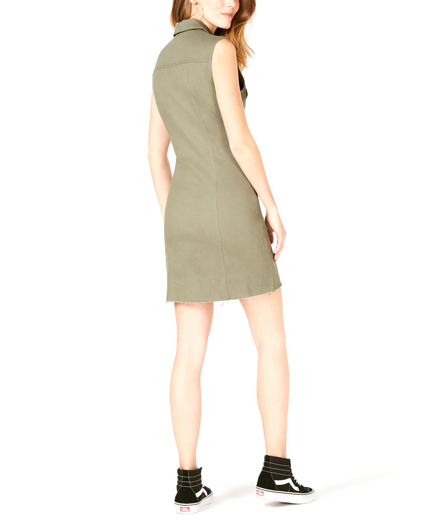 Yieldings Discount Clothing Store's Topson Sleeveless Button-Front Shirtdress by TDC in Army Green