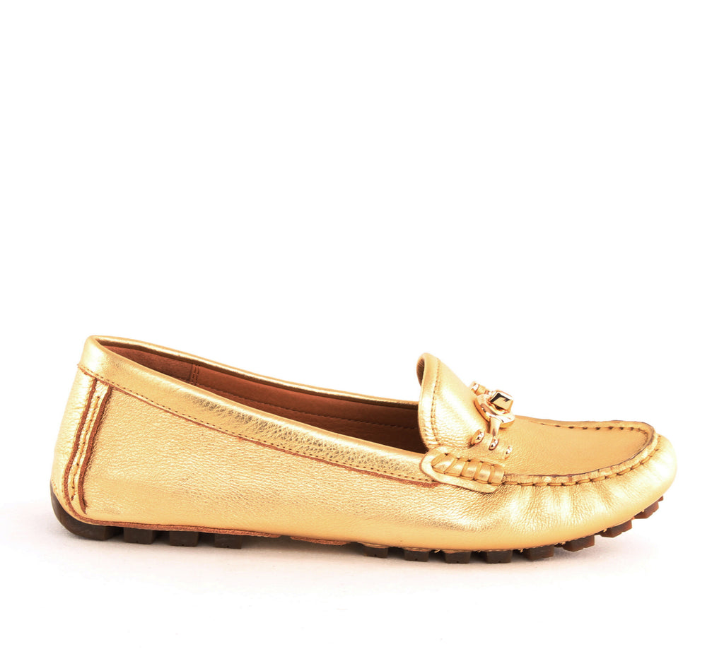 Yieldings Discount Shoes Store's Arlene Metallic Tumbled Loafers by Coach in Gold