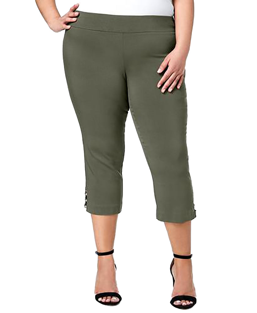 Yieldings Discount Clothing Store's Plus Size Cut Out Hem Cropped Pants by JM Collection in Olive Spring
