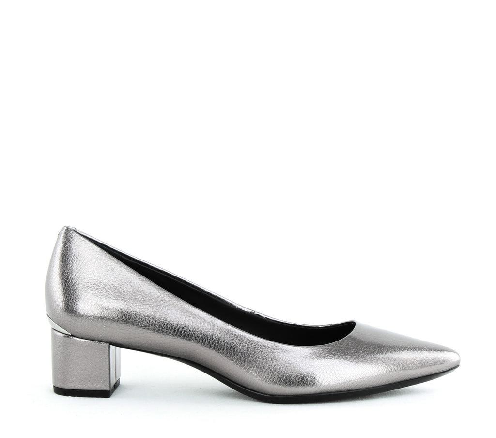 Yieldings Discount Shoes Store's Genoveva Block Heel Pumps by Calvin Klein in Pewter