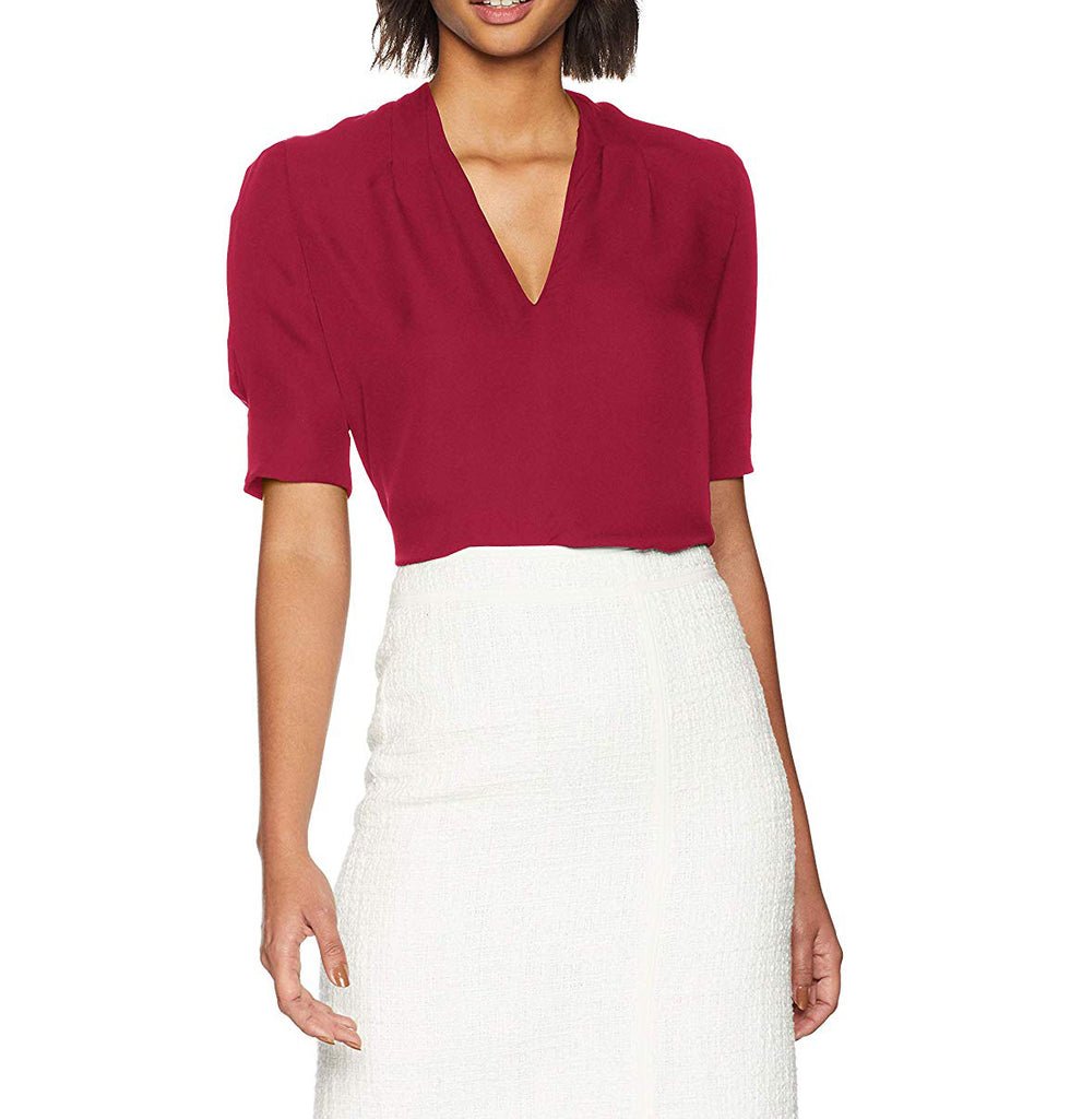Yieldings Discount Clothing Store's Ance Silk Top by Joie in Cambridge Red