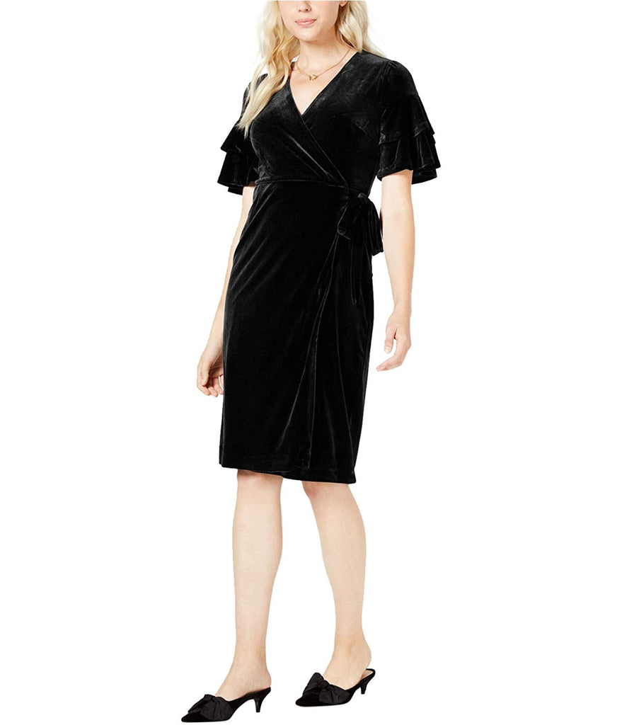 Yieldings Discount Clothing Store's Velvet Wrap Midi Dress by Maison Jules in Deep Black