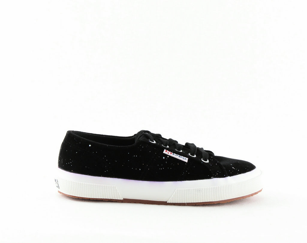Yieldings Discount Shoes Store's 2750 Velvet Glitter Lace-up Sneakers by Superga in Black Multi