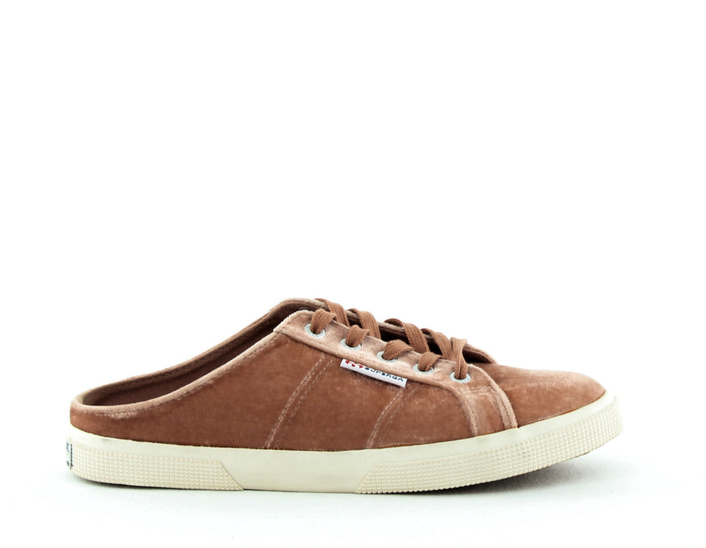Yieldings Discount Shoes Store's 2288 Crushvellutow Backless Sneakers by Superga in Blush