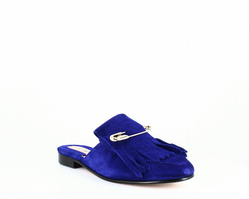 Yieldings Discount Shoes Store's Luna Safety Pin Mules by Brian Atwood in Sapphire