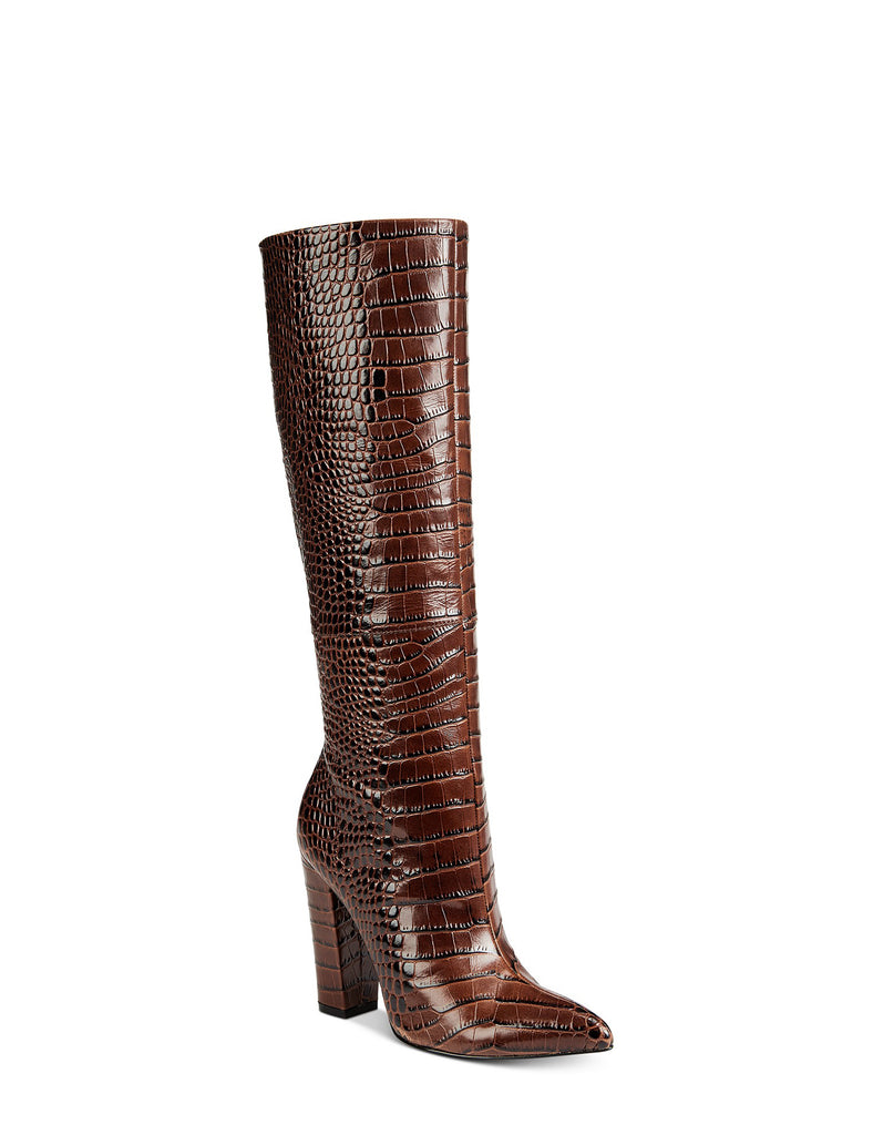 Yieldings Discount Shoes Store's Ibilia Tall Leather Boots by Aldo in Medium Brown