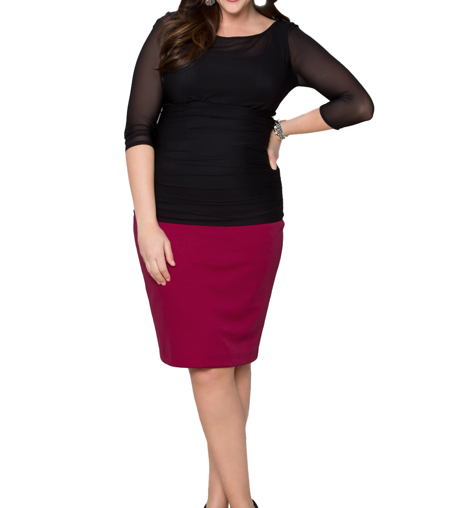 Yieldings Discount Clothing Store's Curvy Pencil Skirt by Kiyonna in Pink