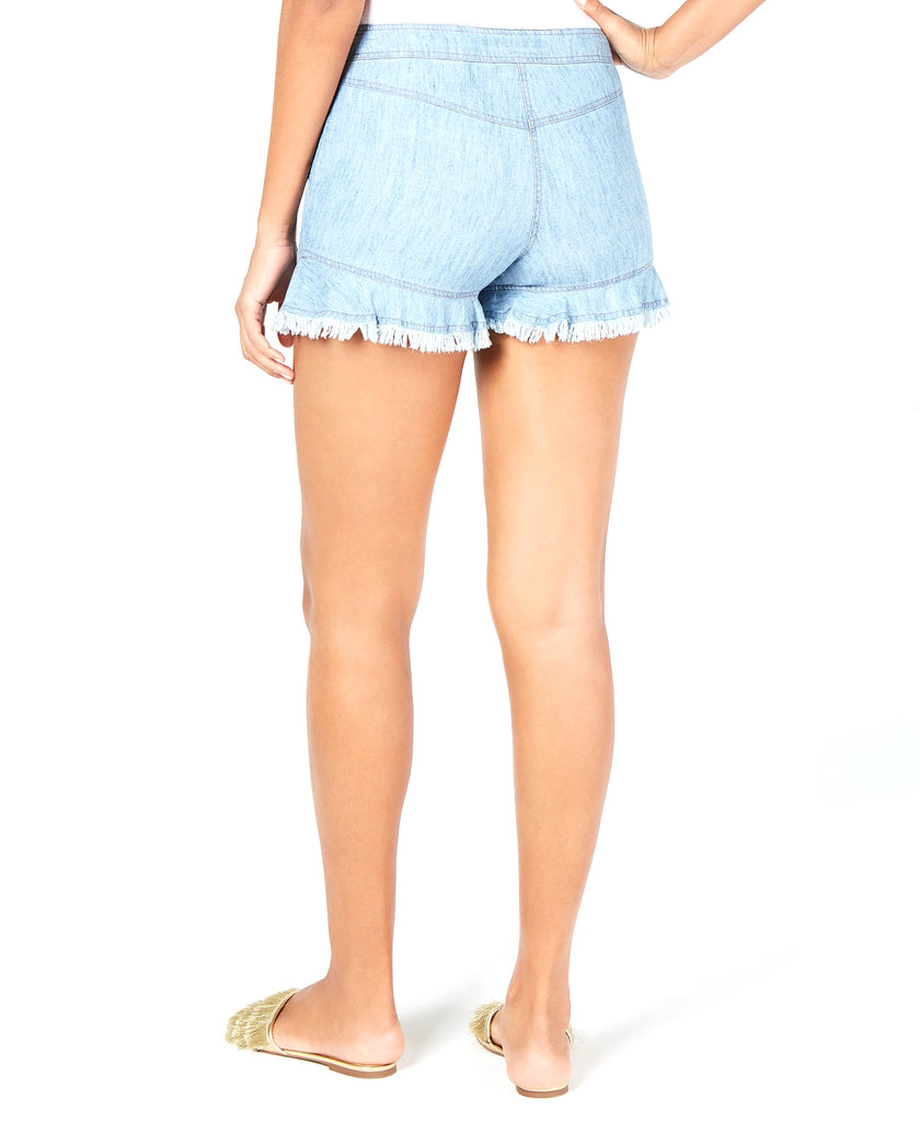 Yieldings Discount Clothing Store's Coral Reef Fringe-Hem Shorts by Trina Turk in Blue