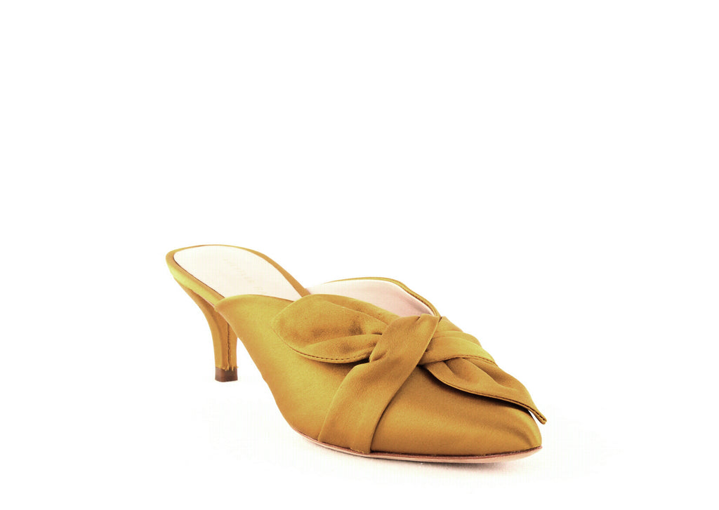 Yieldings Discount Shoes Store's Jade Kitten Heel Mules by Loeffler Randall in Marigold